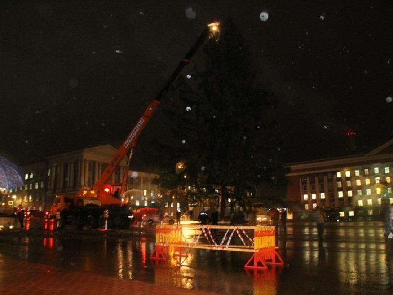 ВКурске начали наряжать главную елку